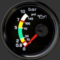 Öldruckanzeige mit Farbmarkierungen für Rotax
